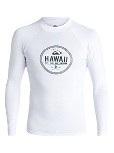 Quiksilver Mens Island Style Long Sleeve Rash Guard White Small ** Locate the offer simply by clicking the image