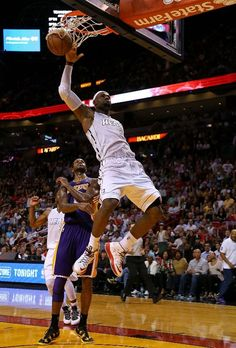 FEBRUARY 10: LeBron James #6 of the Miami Heat dunks
