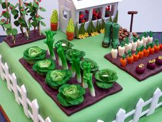 Gardeners Inspired Birthday Cake With Green House Vegetables