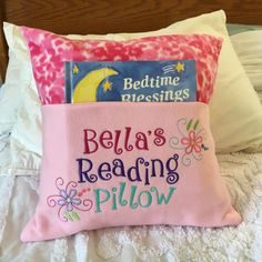 "Fleece Embroidered Pocket Reading Pillow (16"")"