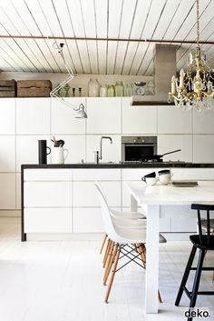love the white painted rustic ceiling - every thing else is so slick.. great kitchen