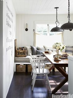Built in banquet to serve as extra seating for dining table