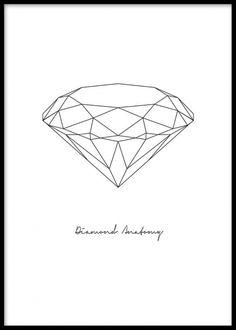 Grafisk affisch med diamant och text