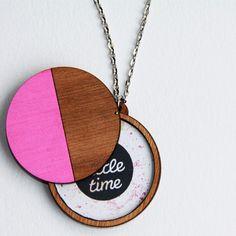 Neon Pink Wooden Locket Pendant Necklace