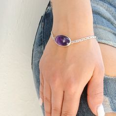 A personal favorite from my Etsy shop https://www.etsy.com/listing/235417780/purple-amethyst-bracelet-oval-bracelet