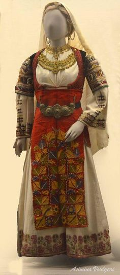Traditional festive costume from Atalanti (near Lokroi, Central Greece), ca. Greek Traditional Dress, Traditional Outfits, Folk Fashion, Asian Fashion, Greek Culture, Embroidery Fashion, Folk Costume, Historical Costume, Greek Costumes
