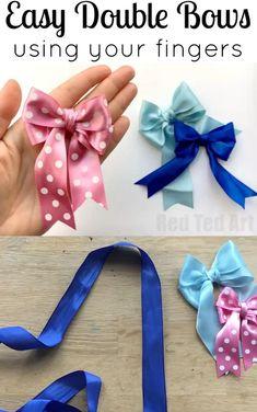 Tie Bows With Ribbon, Ribbon Hair Bows, Diy Hair Bows, Diy Bow Ties, Bow Ribbon Diy, Tie A Bow, Crafts With Ribbon, Homemade Hair Bows, Tying Bows