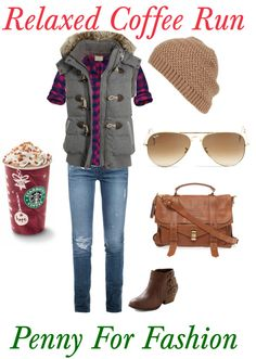 """""""Relaxed Coffee Run"""" by aavoine on Polyvore"""