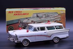 Vintage FORD Fairlane 2-door station wagon ambulance, Japan tin litho metal toy | Toys & Hobbies, Vintage & Antique Toys, Tin | eBay!