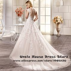 Vestido de noiva de renda Champagne A Line Wedding Dresses With Button Scoop Bridal Dress Gown Court Train Brautkleider 2016-in Wedding Dresses from Weddings & Events on Aliexpress.com | Alibaba Group