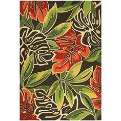 Couristan Covington Areca Palms Brown/ Forest Green Area Rug (5'6 x 8') (Areca Palms/Brown-Forest Green), Size 5' x 8' (Plastic, Floral)