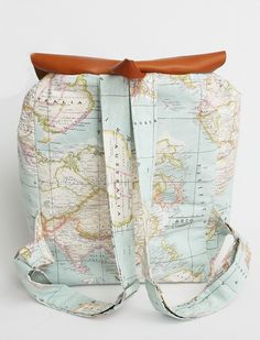 Rucksäcke - Rucksack mit Weltatlas Muster - ein Designerstück von BySena bei DaWanda