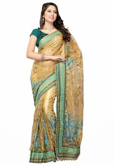 Gleaming Gold Color Embroidered Saree