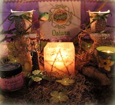 okay, i'm in love with this display. enchanting! i love the star candle and all the moss!