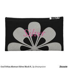 Cool Urban Abstract Silver Black Purse Makeup Bag