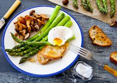 Poached eggs with roasted asparagus and mushrooms