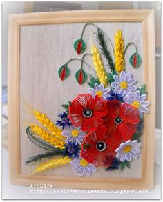 Lovely Framed Quilling Arrangement - by:  Art Life.