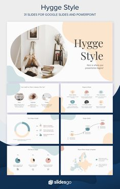 Use this cool Google Slides theme and PowerPoint template inspired by the trendy hygge lifestyle Presentation Folder, Presentation Design, Presentation Templates, Presentation Slides, Ppt Themes, Powerpoint Themes, Cute Powerpoint Templates, Flyer Template, Slide Design