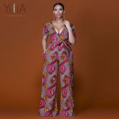 Elegant sexy deep v-neck plus size loose African Print dashiki long pant jumpsuit fashion wide leg flare trousers women rompers by official_cigauy African Jumpsuit, African Dress, Rompers Women, Jumpsuits For Women, African Print Clothing, African Prints, African Clothes, African Dashiki, African Fashion Dresses