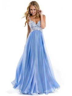 Stropper Ermeløs A-line/Princess Chiffon Applique Lace Floor-length Prom Dress