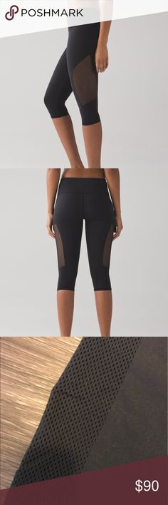 lululemon reveal crop Never worn, but all tags off. Black lululemon reveal crops lululemon athletica Pants Capris