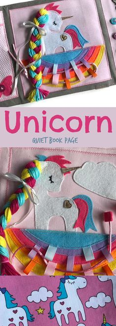 Cute unicorn quiet book PAGE, montessori busy book page, handmade sensory toy with lacing activity #quietbook #affiliate