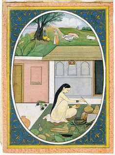 First generation after Manaku and Nainsukh   Radha Preparing Food while Krishna…