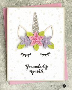 Ideas baby cards handmade girl for kids Unicorn Birthday Cards, Girl Birthday Cards, Handmade Birthday Cards, Unicorn Cards, Birthday Images, Birthday Quotes, Funny Birthday, Children Birthday Cards, Unicorn Valentine Cards