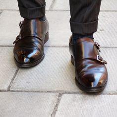 mrsalomonsson:  Monkstrap tuesday.  Well worn & superbly cared!