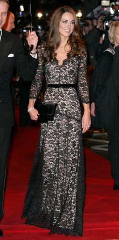 This lacy Alice by Temperley gown hugged Kate in all the right places. A velvet Pretty Ballerina clutch and diamond tennis bracelet enhanced the dramatic elegance of her War Horse premiere look in 2012.