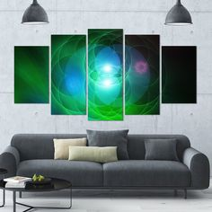 Designart 'Merge Colored Spheres.' Abstract Canvas Art Print - 60x32 - 5 Panels Diamond Shape