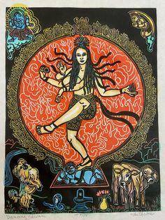 Dancing Shivani FaithStoneArt mokuhanga woodblocks Everyday | Etsy Magic Realms, Thangka Painting, Indian Elephant, Hindu Art, Buddhist Art, Dragon Art, Gods And Goddesses, Hinduism, Occult