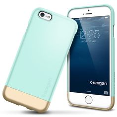 iPhone 6 Case, Spigen® [Safe Slide] iPhone 6 Case Protective [Style Armor] [Mint] SOFT-Interior Scratch Protection Metallic Finished Base with Dual Layer Protection Slim Trendy Hard Case for iPhone 6 - Mint Phones & Accessories Iphone 6 Cases, Cute Phone Cases, Phone Covers, Portable Apple, Accessoires Iphone, Smartphone, Coque Iphone 6, Cool Cases, Mobiles