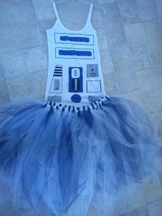 R2D2 Inspired Women's Tutu dress (Hand painted and Made to order).