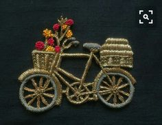 Vintage Cycle Zardozi Embroidery Applique Indian Handmade Cutwork Embroidery Patch,Coachella Boho Quirky Zari Patch,Retro Bag Charm cm by IndianCraftSafari on Etsy Zardosi Embroidery, Hand Work Embroidery, Embroidery Motifs, Simple Embroidery, Learn Embroidery, Embroidery Fashion, Embroidery Patches, Hand Embroidery Designs, Vintage Embroidery