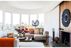 """The living room feels like """"an open-air pavilion"""" when the counterbalanced windows are lowered and there's nothing in the way of the spectacular view. Find More Creative High End Designer  Home Decor Accessories Visit us online! http://www.ancienteyebohemianarts.com/"""