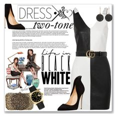 Two-Tone Dress - Life in Black and White by sonyastyle on Polyvore featuring polyvore, moda, style, Yves Saint Laurent, Valentino, Rolex, Astley Clarke, Gucci, fashion and clothing