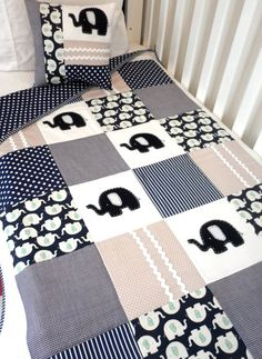 Elephant Baby Crib Quilt and Pillow...LOVE this! Wish I would have seen this one for Andrew instead!