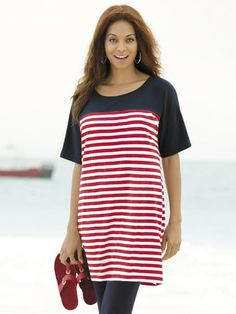 """Colorblocked Striped Knit   A solid yoke is teamed with a striped body for maximum impact.  Relaxed fit  100% cotton  Machine wash  Length: 34""""  Plus sizes 12/14 to 36/38 Ulla Popken. $59.00"""