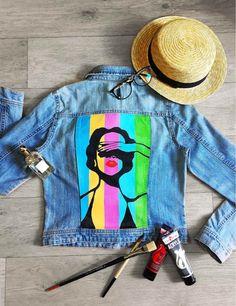 denim jacket paintedpainted jacket denimhandmade painted jacket custom denim jacket art denim jacketdenim jacket vintageGift for her Customised Denim Jacket, Painted Denim Jacket, Painted Jeans, Painted Clothes, Denim Paint, Denim Jacket Vintage, Painting On Denim, Hand Painted, Custom Denim Jackets