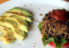 a healthy recipe site! (pictured: Black Bean Quinoa Burger)