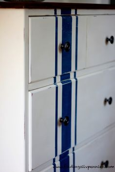Silver Pennies: Grain Sack Dresser (Before & After) Annie Sloan Chalk Paint - Old White and Napoleonic Blue.