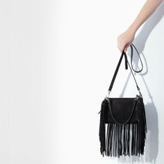Image 4 of LEATHER MESSENGER BAG WITH FRINGING from Zara