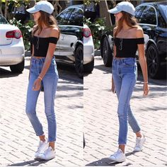 Queenplus 2017 Women T-Shirt Off Shoulder Crop Black White Tops Ribbed Slash neck T-shirt Sexy Femme Tee Shirt Kyliejenner Mom Jeans Outfit Summer, Girl Outfits, Fashion Outfits, Summer Crop Tops, Crop Top And Shorts, Cindy Crawford, Casual Tops, Casual Wear, Cute Fashion