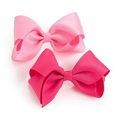 Pair of Girls Pink Tone Ribbon Style Bow Hair Beak Clips Slides ** Read more reviews of the product by visiting the link on the image.