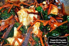 Tilapia Stir Fry with Orange Ginger Sauce