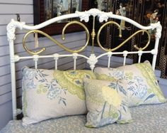 Headboard  - White Iron w/ Gold Metal Full sz. HeadBoard  - $299.95