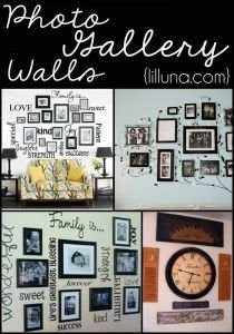 Photo Gallery Walls - inspiration and tips for your own photo gallery wall! { lilluna.com }