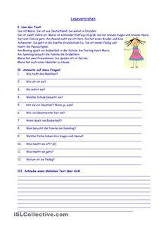 Hier findest du einen kurzen Text über ein Mädchen. Nach dem Lesen des Textes müssen die Schüler auf die verschiedene Fragen antworten. Zum Schluss schreiben sie selbst einen ähnlichen Text. - DaF Arbeitsblätter