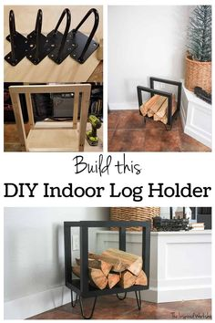 DIY Indoor Firewood Holder - This easy to build indoor firewood holder is sure to add the perfect touch to your fireplace this winter holiday season! With its hairpin legs, It is the perfect combination of modern and farmhouse to compliment any living room! Build it today with the step by step tutorial to show you how!